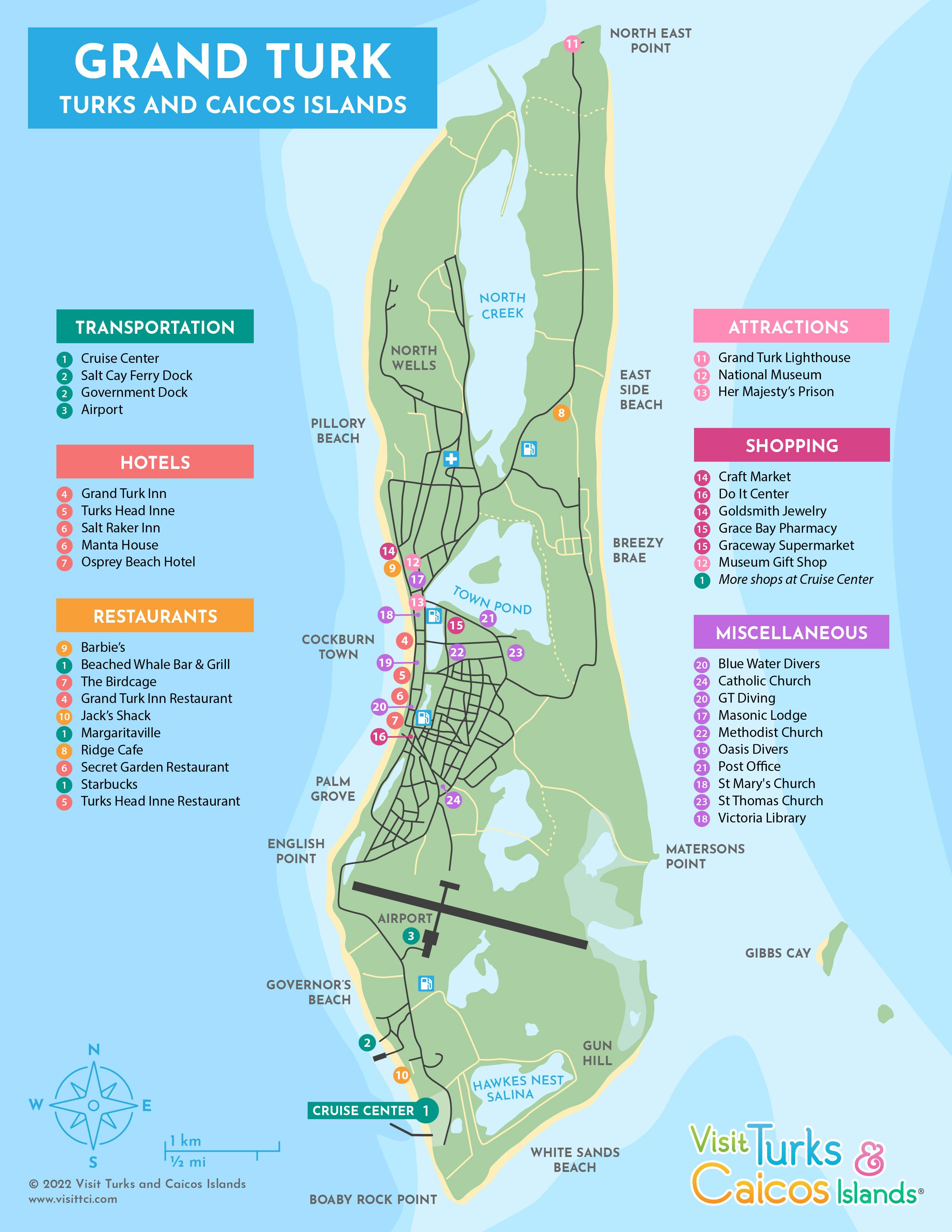 Grand Turk Cruise Port Map : grand, cruise, Grand, Visit, Turks, Caicos, Islands