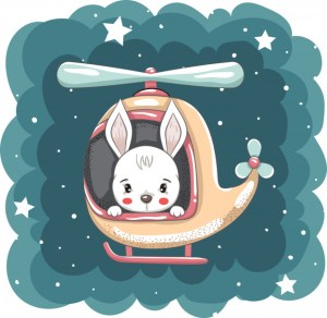 Easter bunny in helicopter