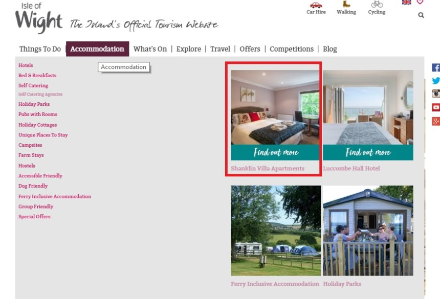 Navigation box feature - example image of Shanklin Villa and Luccombe HallHotel looking prominent on the page