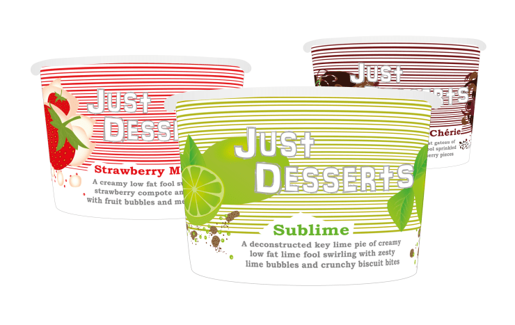 Just Desserts. Packaging sleeve concept for a new range of desserts showing three of the series of six sleeves.
