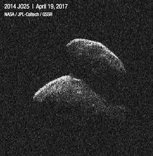 Radar image of Asteroid 2014 JO25 (19 April 2017). Making an Impact: Meteoroids, Meteors and Meteorites. Also in blog post Asteroid vs Comet.