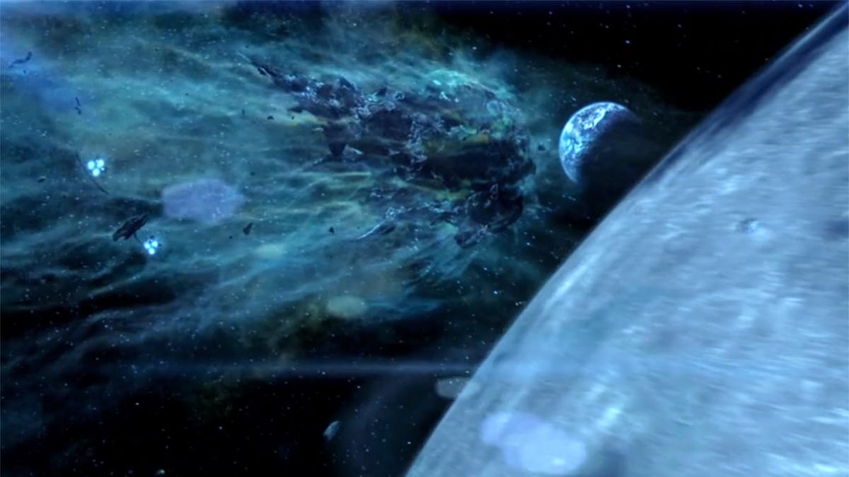 The asteroid the size of Texas in the film Armageddon (1998)