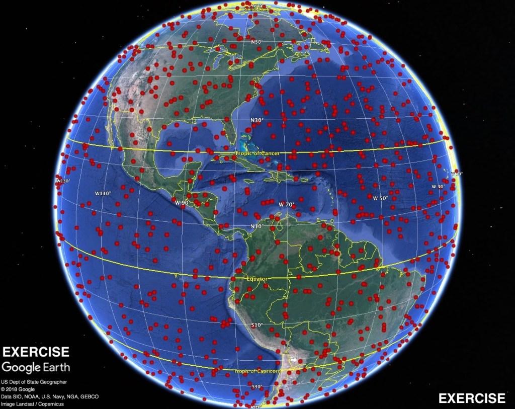 Fictitious comet C/2019 PDC global impact site estimates.