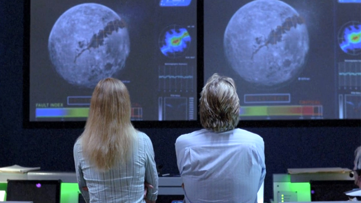 Two scientists look at Moon in control room scene in Earth Storm (2006)