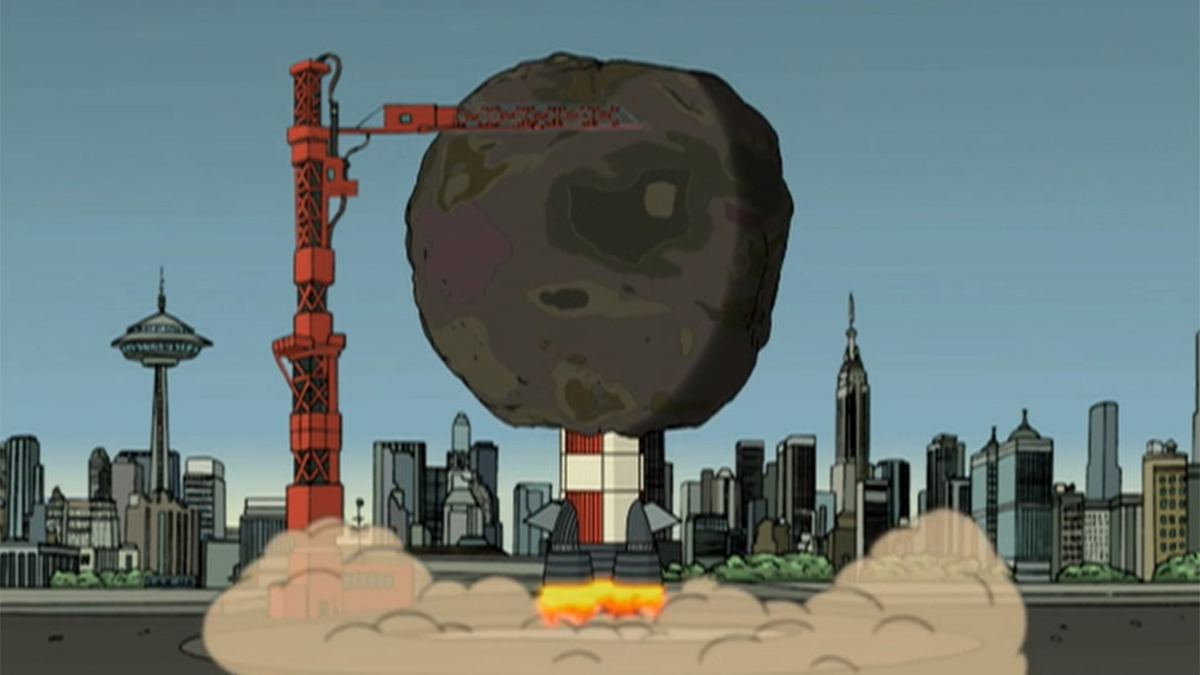 Scene showing launch of garbage ball in Futurama: A Big Piece of Garbage (1999)