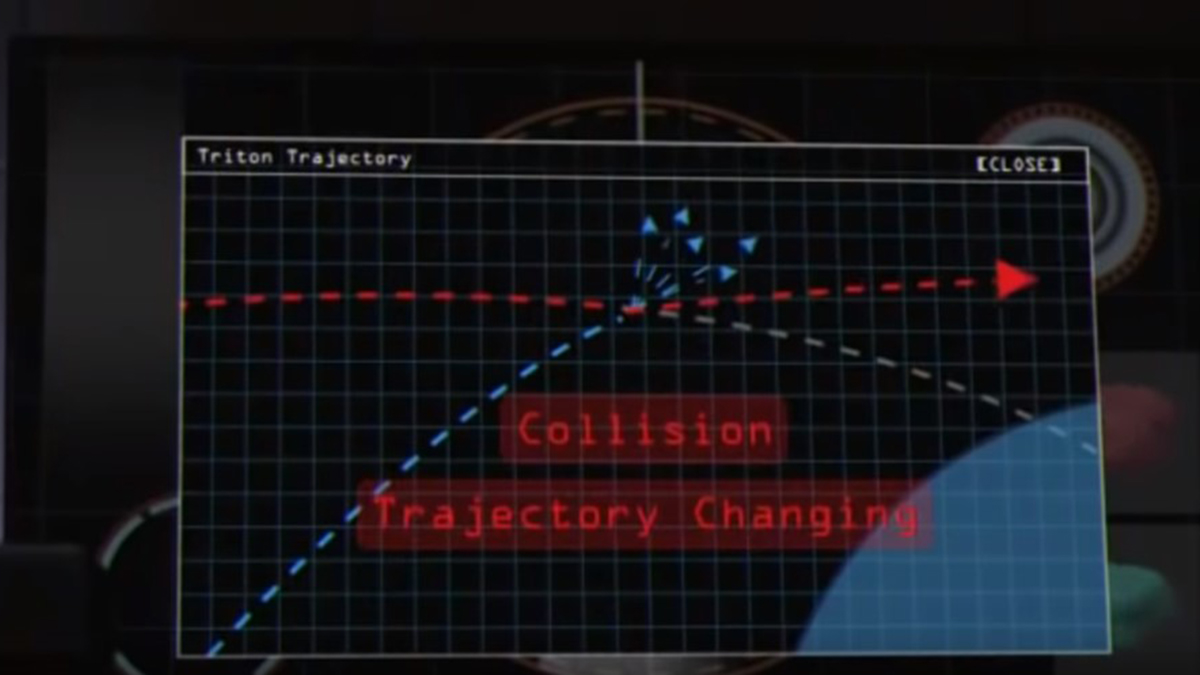 Scene from the film Impact Earth (2015) showing computer screen and trajectory changing