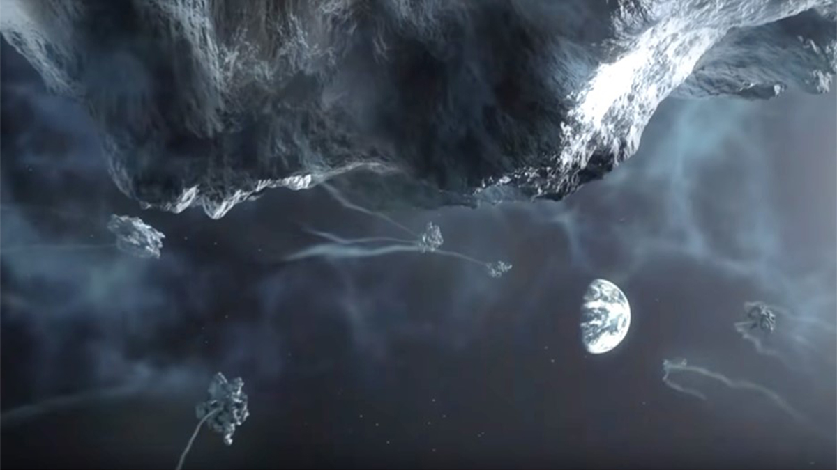 Scene showing massive comet and debris field approaching Earth from space in the documentary The Super Comet (2007)