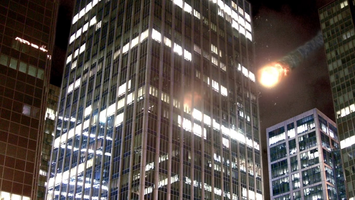 Impact of asteroid into city scene from film Earth Storm (2006)