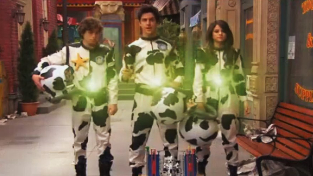 Scene showing three wizards in dalmation spacesuits in TV episode Wizards of Waverly Place Wizards vs Asteroid (2011)