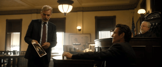 Goliath Season 3: The weird and the wonderful. Billy McBride (Billy Bob Thornton) questions Wade Blackwood (Dennis Quaid) about who took the Big Sur photo.
