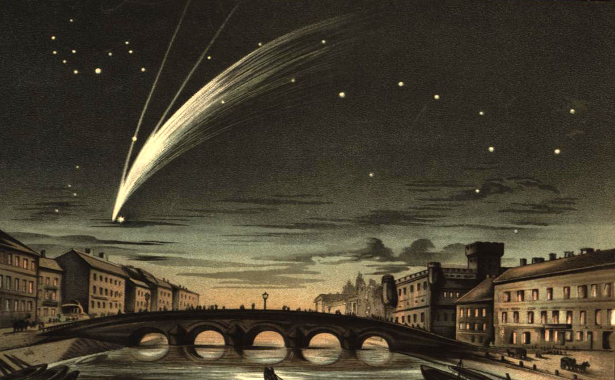 Donati's Comet of 1858 and its replendent tail. In blog post Heaven Scent - an essay on the smell of space, fragrance of meteorites, scent of meteors, and aroma of comets.