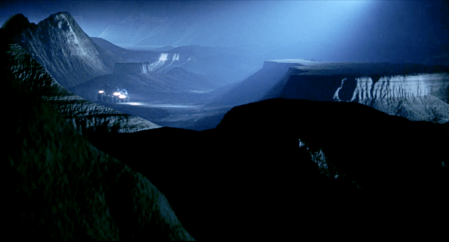The Badlands of South Dakota on the surface of the asteroid in the film Armageddon (1998).