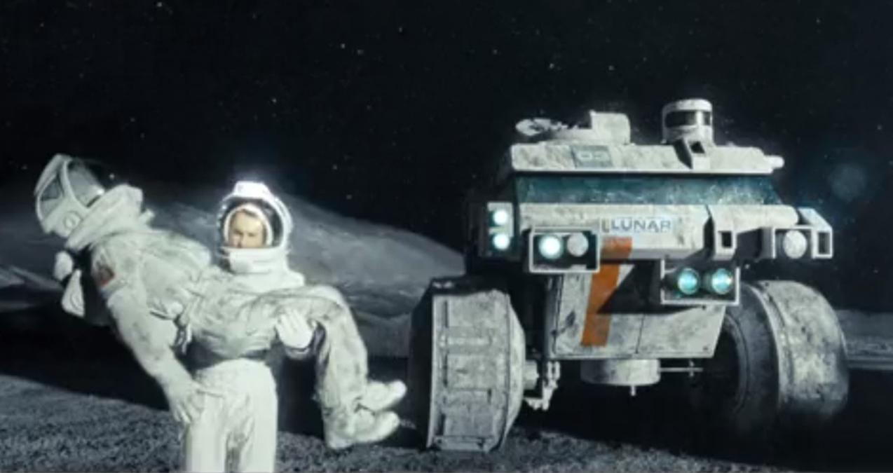 Clone carrying clone in Moon (2009)