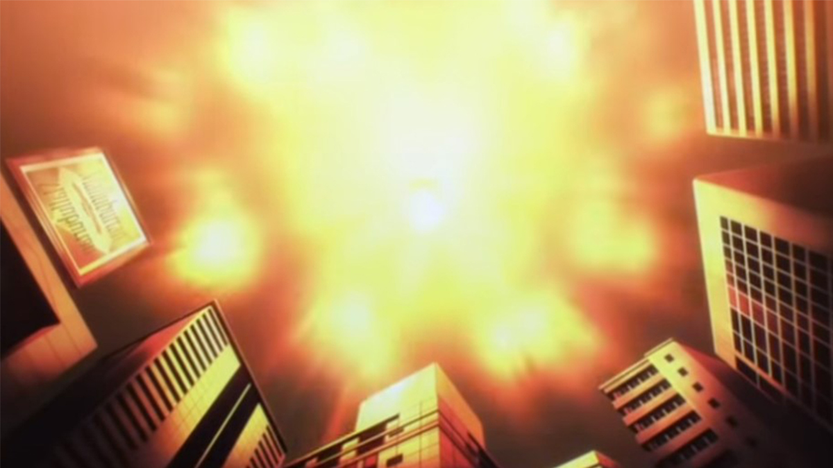 Meteor explosion over the city in One Punch Man The Ultimate Disciple (2015)