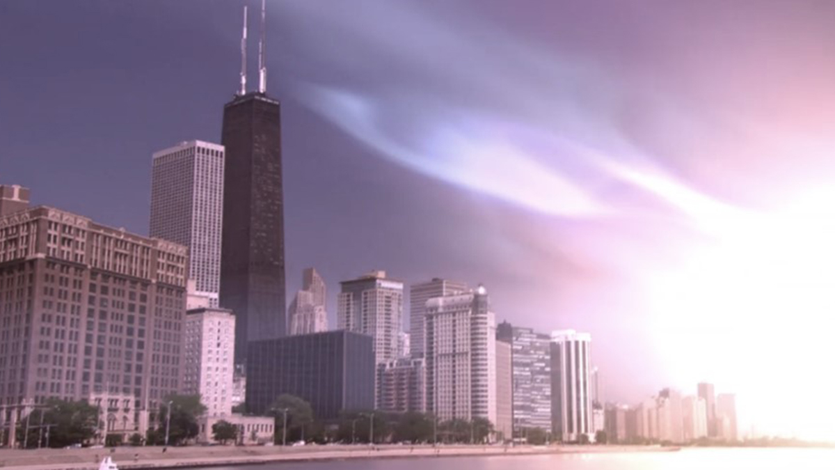View of the city with the magnetic reversal in progress in Polar Storm (2009)