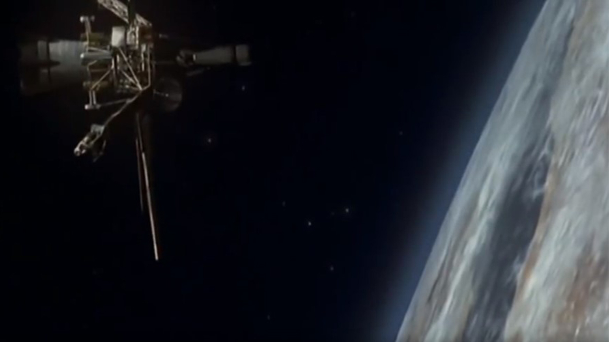 View from space showing the microwave beam power station satellite over Earth in Post Impact (2004)