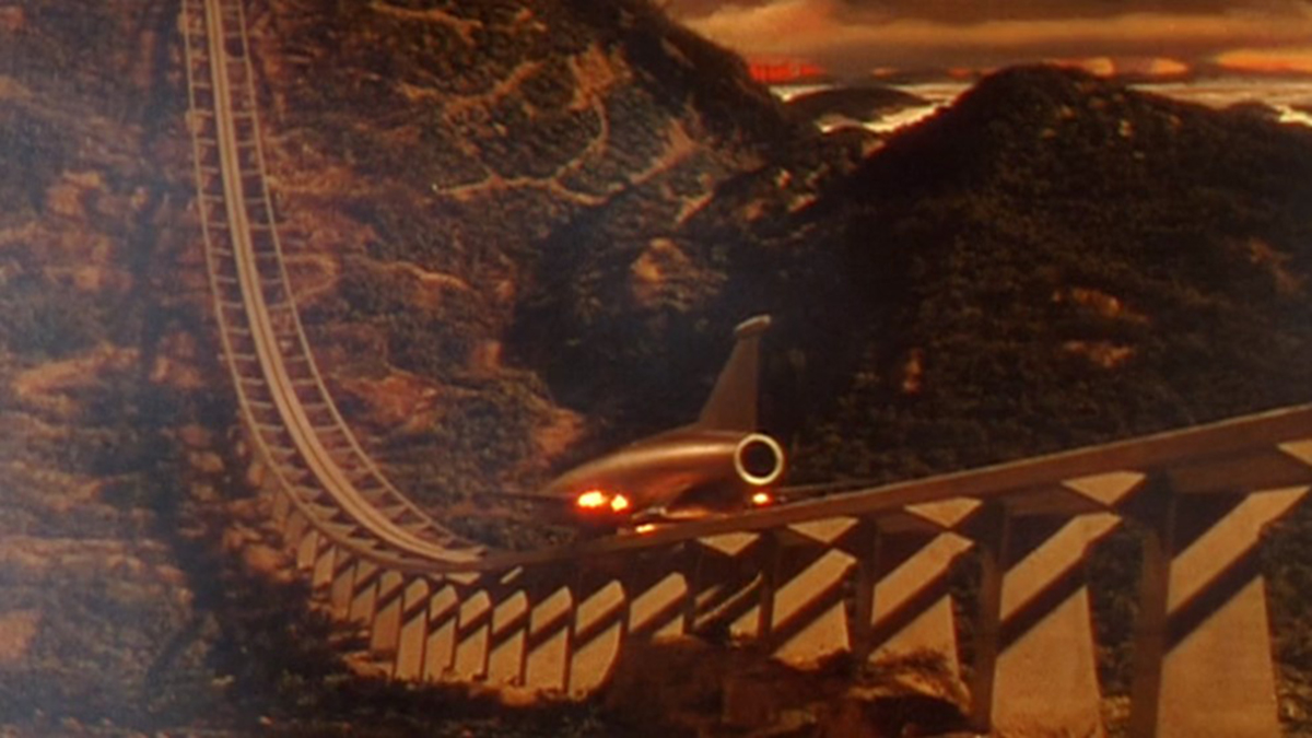 Scene showing the Ark taking off from Earth on a rail launch in the film When Worlds Collide (1951)