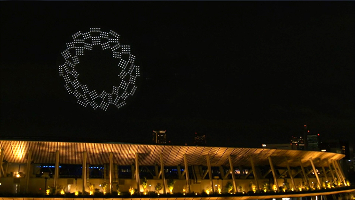 Tokyo 2020 and a drone-made ring gate logo