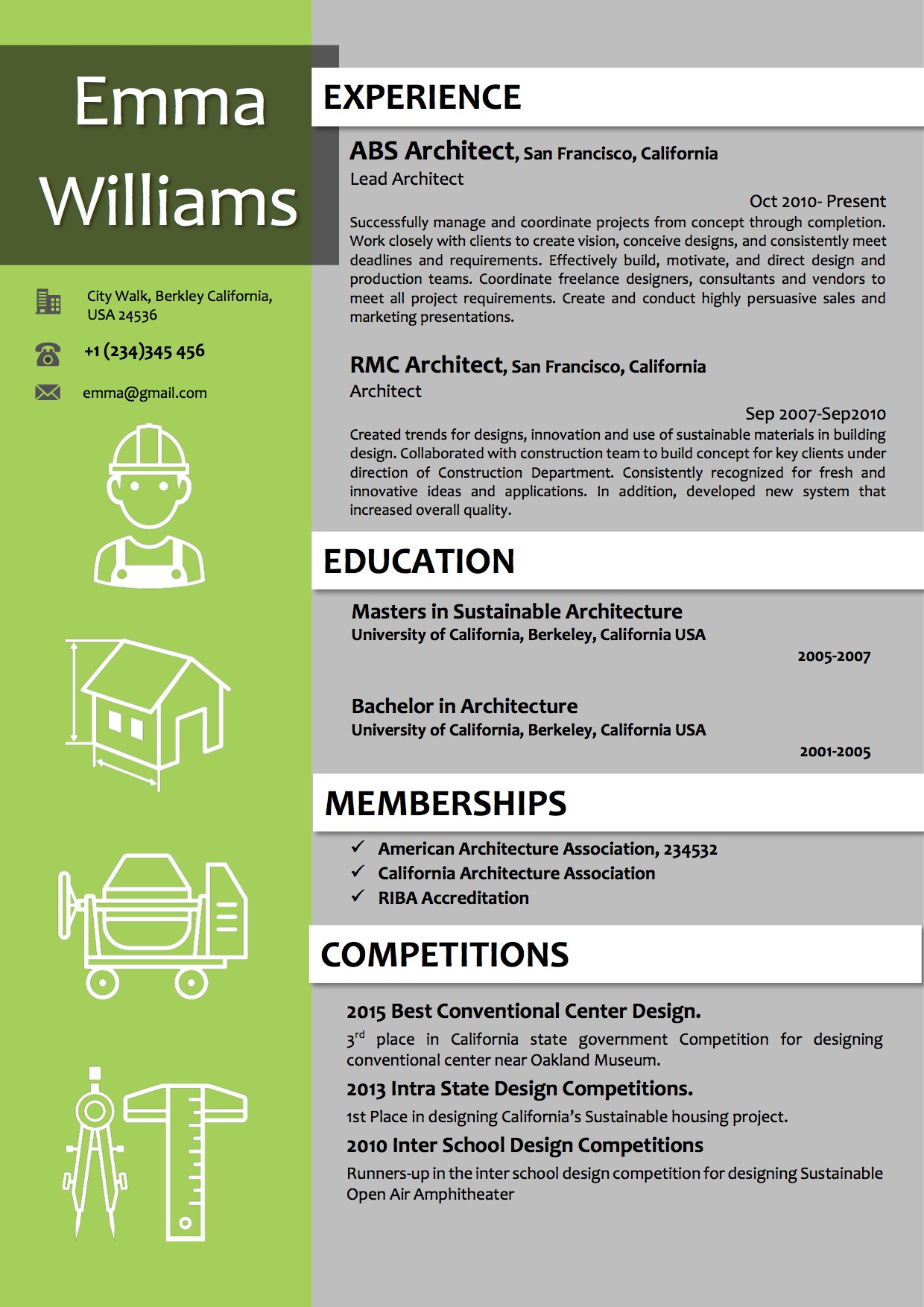 architect resume template in green color