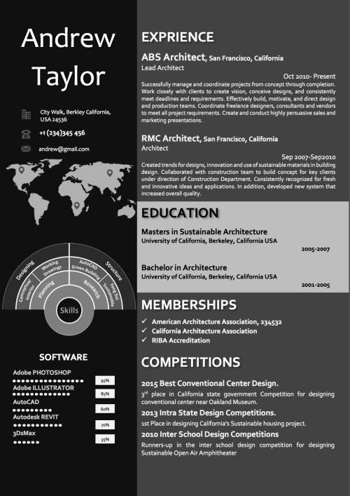 infographics dark two column timeline resume