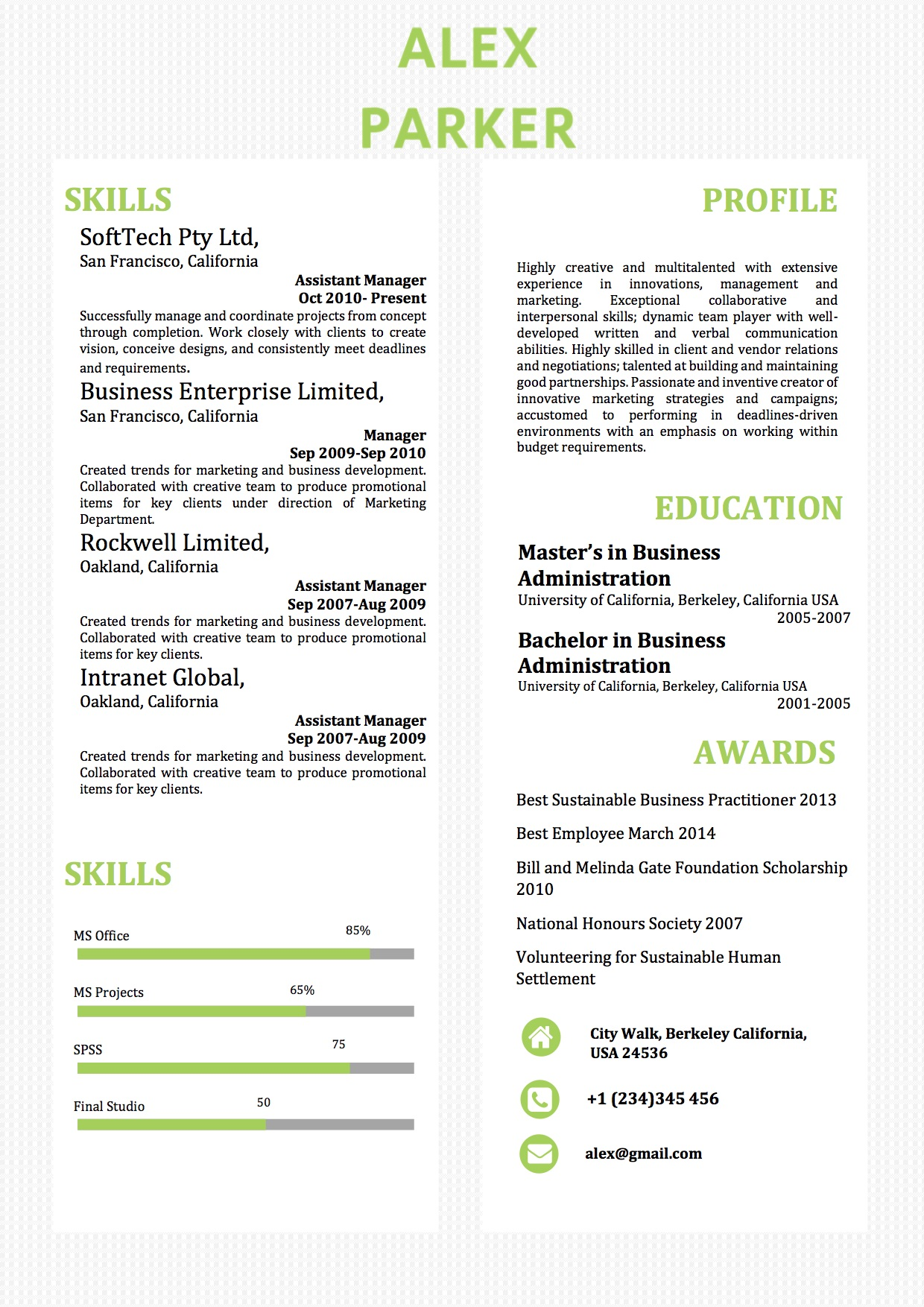 Simple Two Columns Word Resume Template