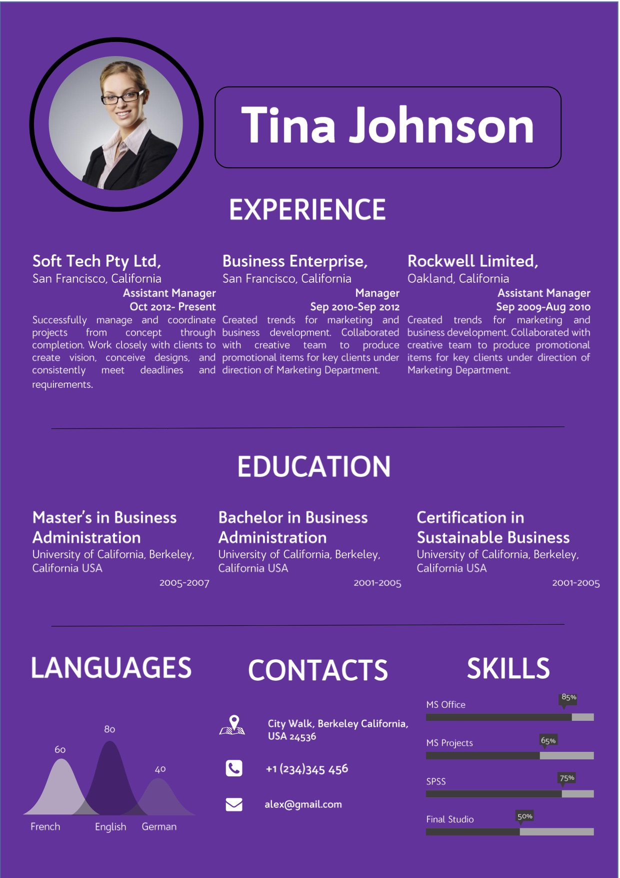 purple colorful word template resume