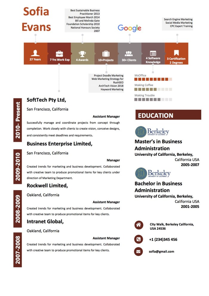 resume54_highlighter_brown_red_professional_modern_colorful