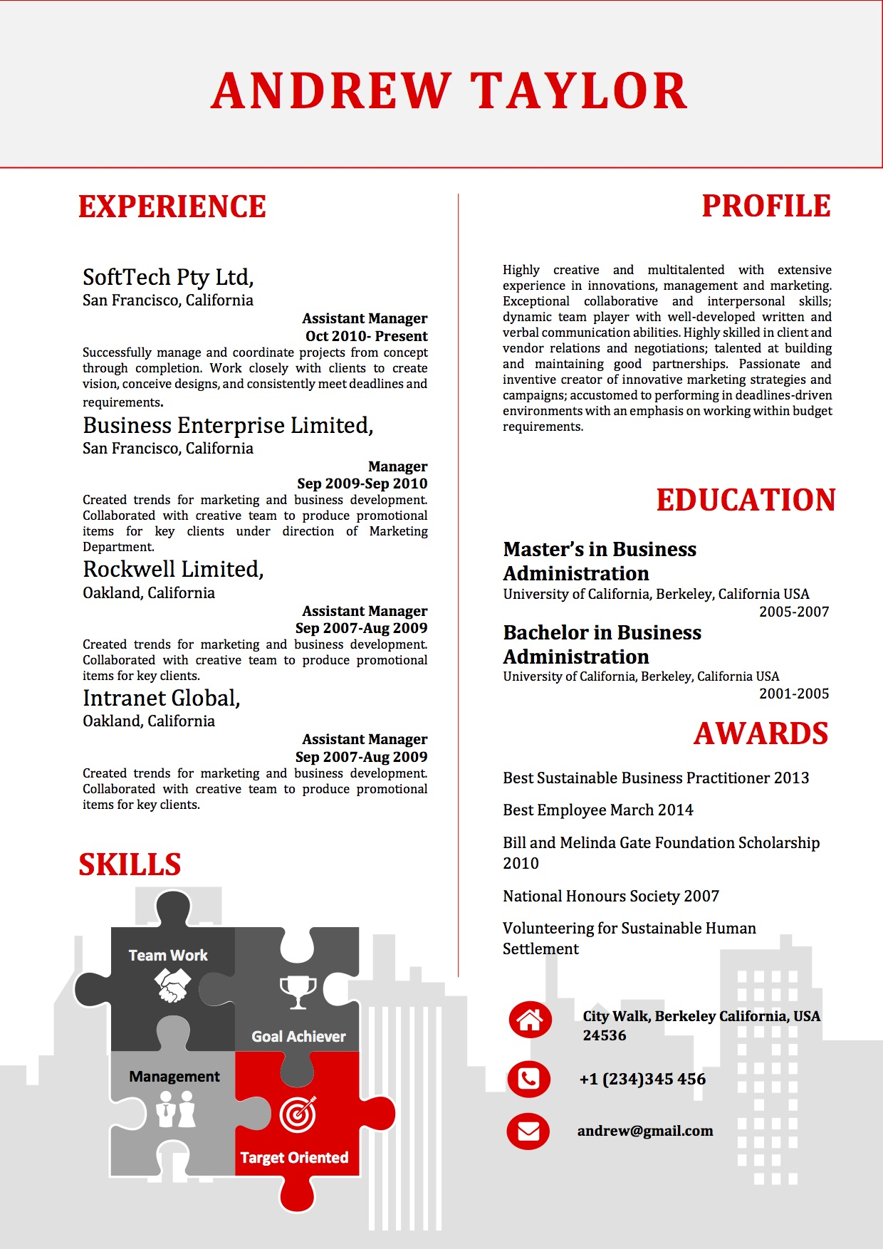 Simple Infographics Resume Word Template - Vista Resume
