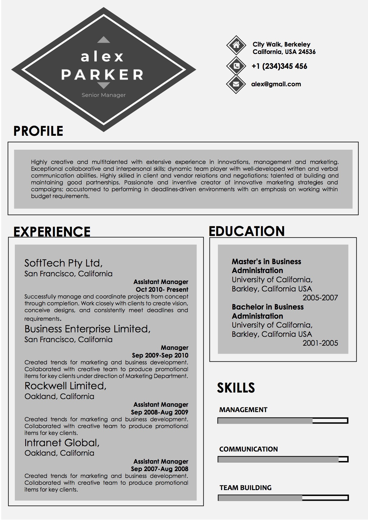 professional grey and black color resume vista resume
