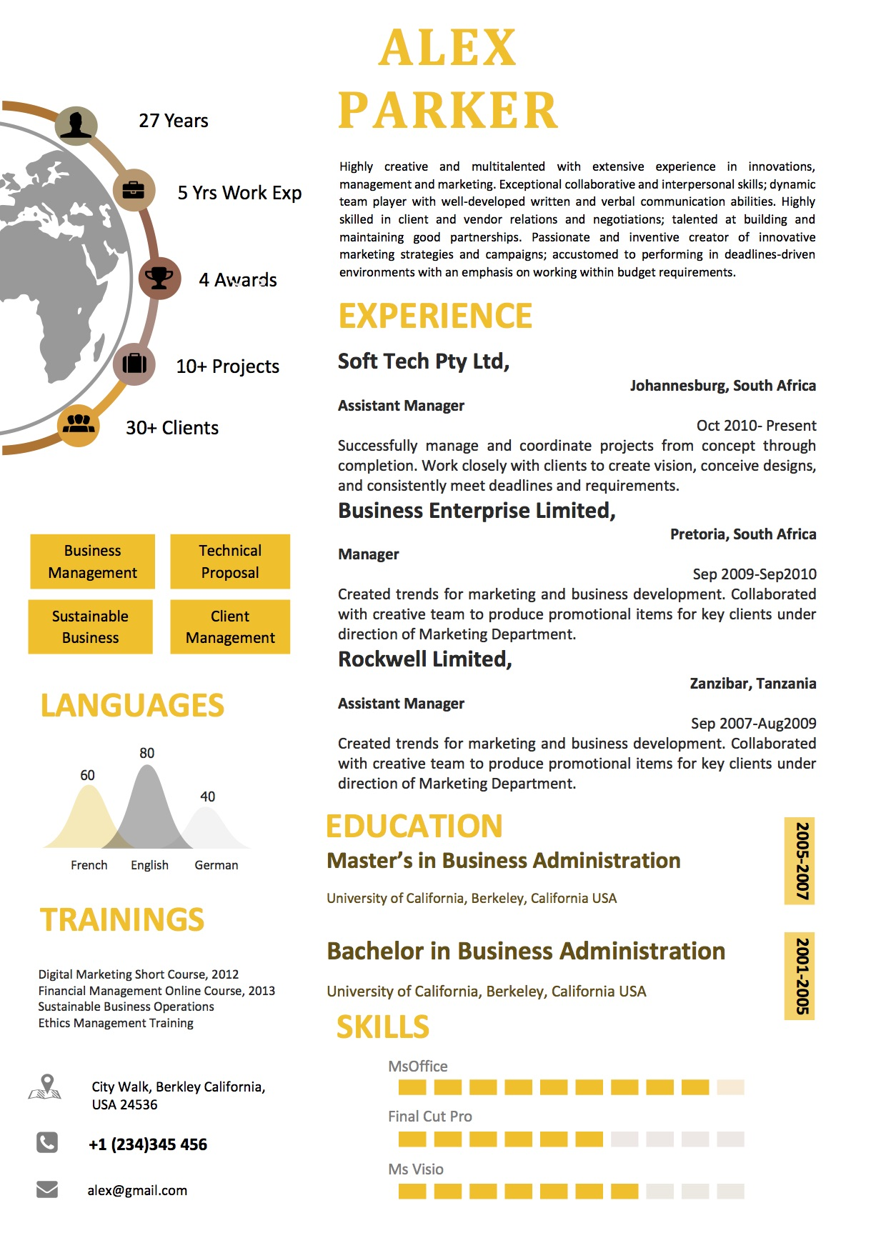 MS Word Resume Format With Orange Color And Map