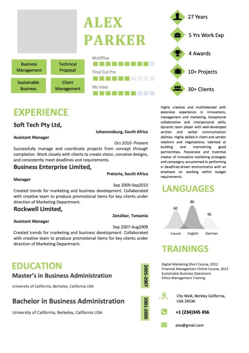 green_white_sidelayout_professional_modern_resume
