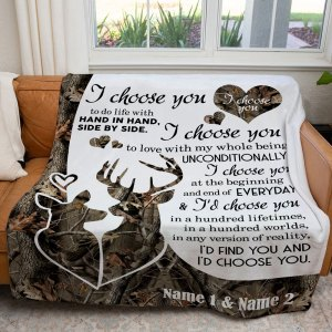 Personalized Anniversary Gift For Wife I Choose You Dear Hunting Blanket H0