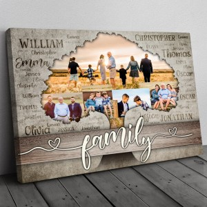 Personalized Gift For Parents, Family Tree Custom Photo Wall Art, Meaningful Family Anniversary Gift Canvas H0