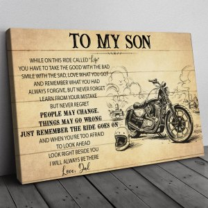 Gift For Son From Dad, Biker Son Gift, On This Ride Biker Canvas H0