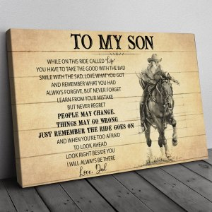 Gift For Son From Dad, Horse Riding Son Gift, On This Ride Horse Canvas H0