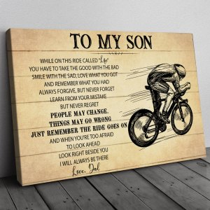 Gift For Son From Dad, Rider Son Gift, On This Ride Bicycle Canvas H0