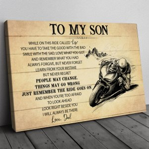 Gift For Son From Dad, Motorbike Racing Son Gift, On This Ride Motorcycle Canvas H0
