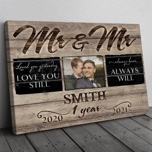 Personalized Anniversary Gift For Her, Anniversary Gift For Him, Mr & Mrs Custom Photo Canvas H0