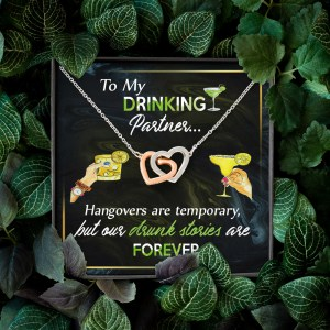 Gift For Best Friend To My Drinking Partner Interlocking Hearts Necklace With On Demand Message Card H0