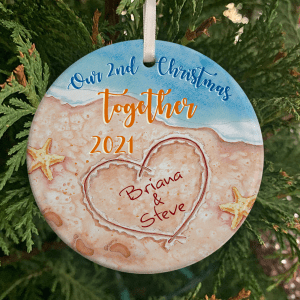 Personalized Beach Wedding Anniversary Gift, 2 Years Married, Our 2nd Christmas Together Ornament H0