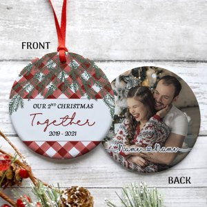 Personalized 2nd Christmas Married Ornament, 2 Years Wedding Gift For Wife Ornament H0