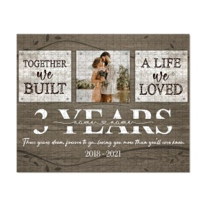 Personalized 3 Year Anniversary Gift For Her Custom Photo, 3rd Anniversary Gift For Him, Together We Built A Life Puzzle H1