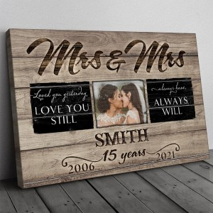 Personalized 15 Years Anniversary Gift For Her, 15th Anniversary Gift For Him, Mr & Mrs Custom Photo Canvas H0