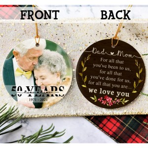 Personalized 50 Year Anniversary Gift For Parents, 50th Anniversary Ornament, Christmas Gift For Parents Ornament H0