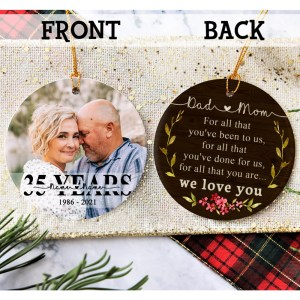 Personalized 35 Year Anniversary Gift For Parents, 35th Anniversary Ornament, Christmas Gift For Parents Ornament H0