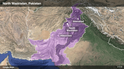 Map of North Waziristan, Pakistan