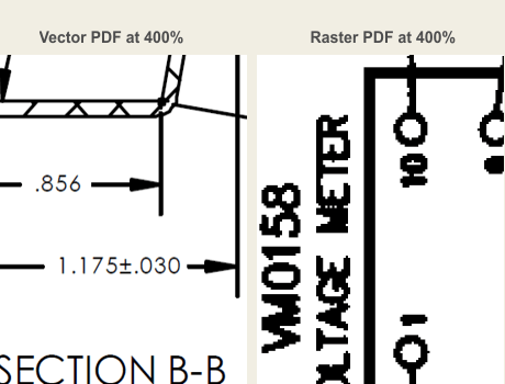 difference between vector and raster PDF file