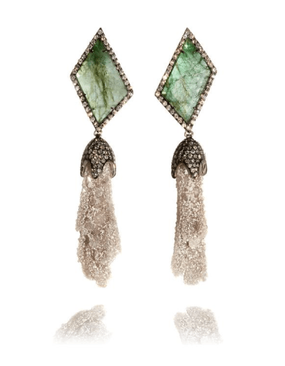 Emerald Slice, Stalactite & Diamond Earrings