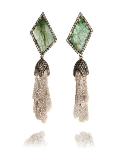 Emerald Slice, Stalactite & Diamond Earrings