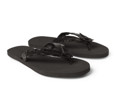 Bottega Veneta Crocodile Flip Flops on mrporter.com
